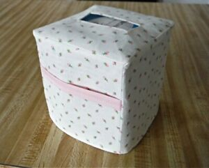 Tissue Box Cover Square Fabric Baby Pink Roses 2 Pockets $9.50
