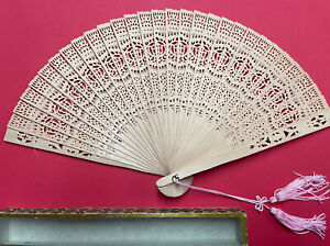 Vintage Wooden Hand Held Asian Chinese Carved Folding Fan W Original Glass Box $14.99