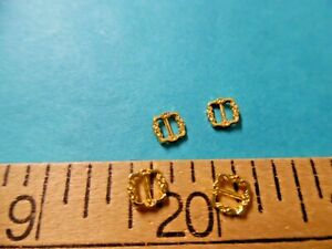 TINY METAL SQUARE BUCKLES GEORGIAN STYLE GOLD 5MM SET OF 4 GREAT FOR TINY DOLLS $3.00