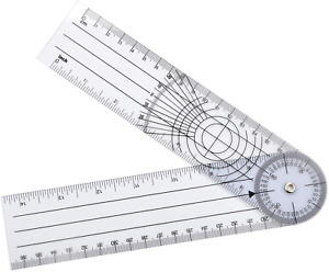 WIN TAPE Clear Plastic Goniometer Can Rotate 360 Degree 7#x27;#x27; Arms Quick Angle Pr $10.34