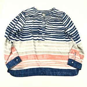 Chicos Womens Popover Top Size 2 L Multicolor Striped Long Sleeve Button Top $15.99