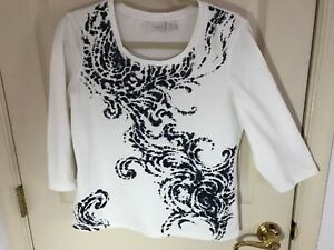 Woman's Chico's weekends size 1 white embellished 3 4 sleeve cotton top $12.00