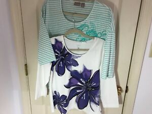 Woman's Chico's size 2 lot of 2 3 4 sleeve round neck cotton tops $16.00