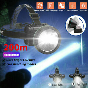 Super Bright LED Headlamp Rechargeable Headlight Torch 5000 Lumen for Hunting $13.97