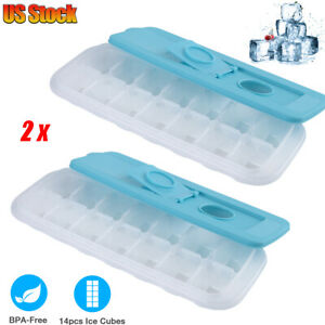 2PACK 14 Case Silicone ICE Cube Tray Maker Mold Cocktails Whiskey Stones Square