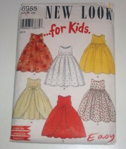 New Look 6955 For Kids Sewing Pattern Girl#x27;s Dress Sizes 3 8 Cut to Sz 6 $6.00