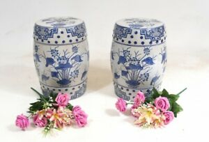 Ming Porcelain Seats Chinese Blue and White Stool Vases $780.00