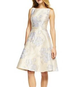 ADRIANA PAPELL Beaded Floral Brocade Fit and Flare Dress Size: 14 $98.00