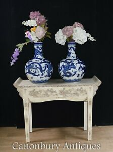 Pair Ming Porcelain Vases Chinese Blue and White Urns $890.00