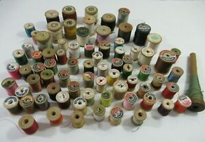 Huge Lot Vintage Antique Thread With Wood Spools Lot 75 Pieces $34.99