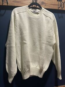 Brian MacNeil Vintage Crew Neck Sweater Off White Cream Solid Color Size Large $14.90