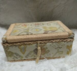Vintage Sewing Basket Box Rattan amp; Tapestry Satin Lined Pin Cushion Lid $16.00