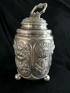 ANTIQUE FROM 18 OR 19 CEN.HAND 800 SILVER HAND CHASED TEA CADDY EUROPEAN 444g $950.00