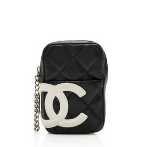 Chanel Quilted Lambskin Ligne Cambon Zip Mini Pouch $640.00
