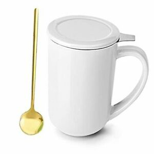 Tea Mug with Stainless Steel Spoon Infuser and Lid Ceramics Loose Leaf White
