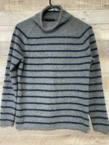 Lands End Gray Blue Striped Cashmere Sweater Pullover Womens Medium 10 12. F