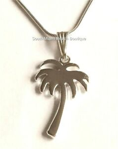 Silver Palm Tree Necklace Pendant Beach 18 Coconut Island Plated USA Seller $7.99