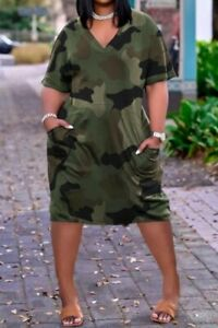 Womens Bellow The Knee Camo Dress Size Large