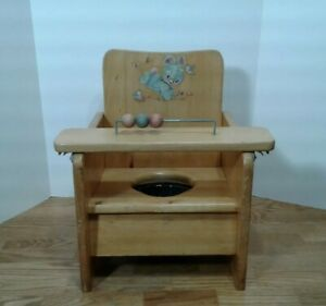 VTG Wood Child Toddler Toilet Potty Training Chair Seat w Tray Metal Bucket $64.75