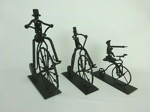 High Wheel Penny Farthing Bicycle Riding Family Lot of 3 Metal Sculptures $75.00