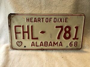 Vintage 1968 Alabama License Plate Heart Of Dixie