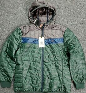 Timberland Thermore EVOdown XL Green Gray Navy Packable Hooded Jacket NWT $178 $129.95