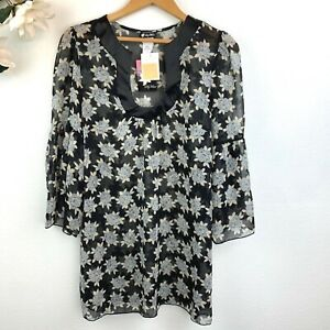 New Lily White Nordstrom Women#x27;s Black Floral Blouse Top Size M Sheer 3 4 Sleeve $9.99