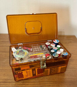 Vintage WIL HOLD Wilson Plastic Amber Orange Sewing Box w Tray FULL of Notions $32.00
