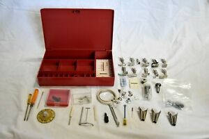 Bernina 830 Hard Red Plastic Sewing Case with Accessories Attachments 8 Feet $150.00