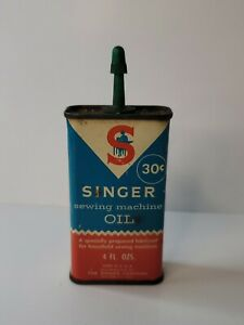 Singer Sewing Machine Oil Can 4 oz. Vintage 30 cent can. Opened $9.99