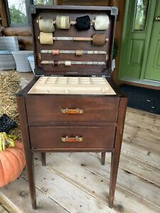 Vintage Two Drawer Sewing Storage Cabinet Stand Table The Caswell Runyan Co $187.00