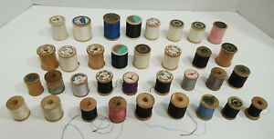 Vintage Wooden Thread Spools Lot of 34 of Various Sizes and Shapes $14.99