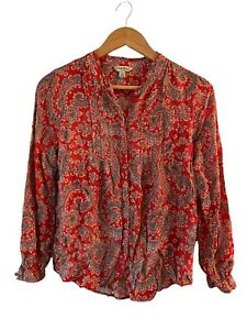 Lucky Brand Women's Red Paisley Boho Top Size Small