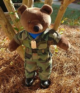 US Air Force USAF Bear in Full Camouflage Uniform w ID Tags amp; Boots 21quot; Tall