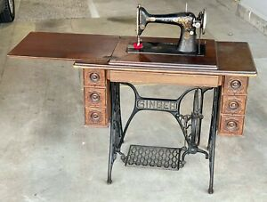 Antique Singer Sewing Machine in Cabinet 1916; 7 Drawer Table Original Cast Iron $145.00