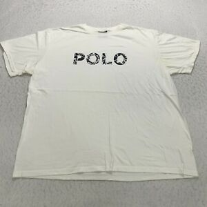 Vintage Polo Sport T Shirt Size 2XL White Floral Spell Out Graphic Cotton Mens $24.97