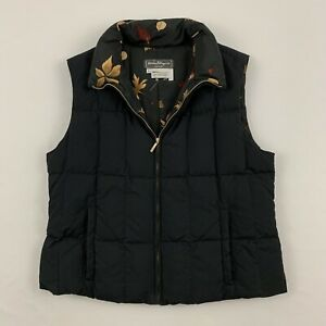 Salvatore Ferragamo Womens Black Quilted Down Vest Jacket Fall Leaves Size Large $89.99