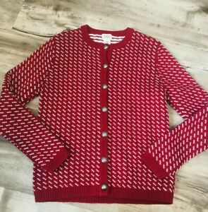 Vintage LL Bean Cotton Wool Blend Button Up Red Cardigan Sweater Womens Small $22.00