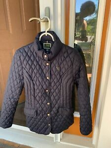 Horsewear Ireland Navy Quilted Down long jacket Zipper and Snap Medium Mint cond $55.00