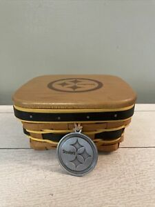 LONGABERGER PITTSBURG STEELERS SMALL Square BOWL WITH WOOD LID BLACK GOLD TRIM $54.99