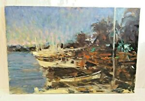 Original Oil Signed by Keith Ward Dick amp; Jane Harbor Impressionist 36quot; x 24quot; $399.00