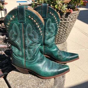 Women#x27;s Justin Cowboy Boots Turquoise Green 9.5