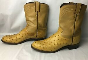 Justin Full Quill Ostrich Tan Leather Cowboy Boots Men#x27;s Size 11.5 Western 3104
