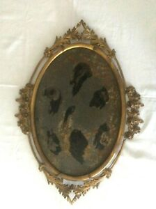 Victorian Ornate Gilt Metal Floral Oval Picture Frame Bubble Convex Glass $39.95