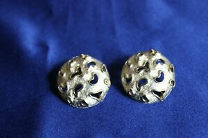 Vintage Signed Vendome Large Post Earrings Gold Tone Textured $14.72