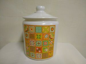 Large Glass Lidded Cookie Jar Container 70s Style White W Geo Pattern 10 1 4quot; $24.90