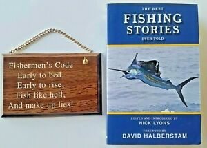 Fishermen#x27;s Code Vintage Hanging Plaque amp; THE BEST FISHING STORIES EVER TOLD