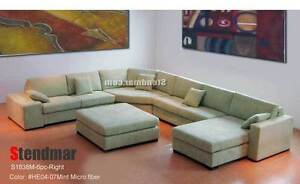 6PC NEW EURO DESIGN U SECTIONAL FABRIC SOFA S1838M