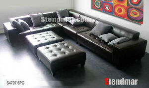 6PC MODERN EURO DESIGN LEATHER SECTIONALS SOFA S4707C