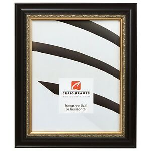 Craig Frames Ruskin Ornate Black and Gold Wood Picture Frame